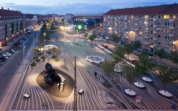 Striped Asphalt Paving: Superkilen park, Copenhagen, Denmark by Topotek 1 + BIG Architects + Superflex